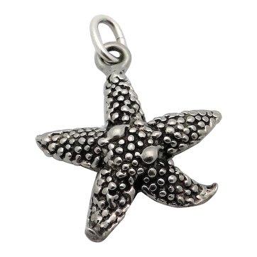 Vintage Sterling Silver Starfish Ocean Theme Charm Pendant