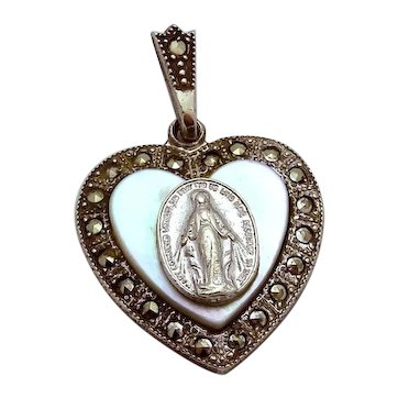 """Vintage Theda Sterling Silver Virgin Mary Religious Heart Pendant """"ERROR"""""""