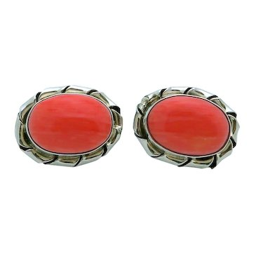 Vintage Taxco Mexico Sterling Silver Large Pink Coral Earrings TL-91