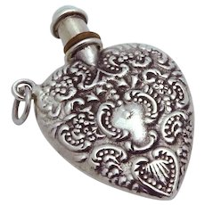 Vintage Art Deco Heart Shaped Sterling Silver Perfume Bottle Pendant