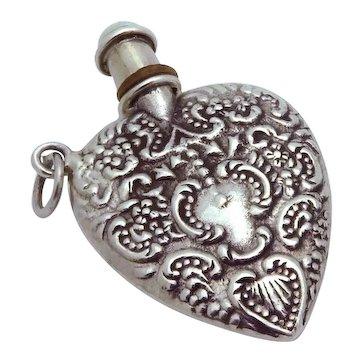 Vintage Art Deco Heart Shaped Sterling Silver Perfume Bottle Pendant