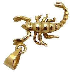 Vintage 14K Yellow Gold 3D Mayor's Scorpion Pendant Charm
