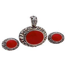 Vintage Southwestern Style Faux Coral Silver Tone Pendant & Earrings Set