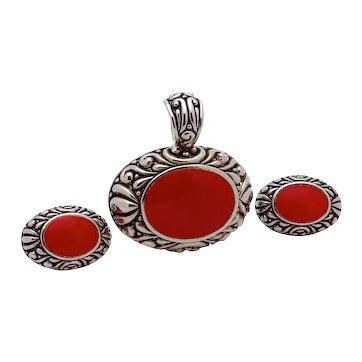 Vintage Southwestern Style Faux Coral Silver Tone Pendant & Earrings Set