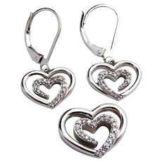Estate Sterling Silver SLV Open Heart Pendant & Earrings Set with Diamonds