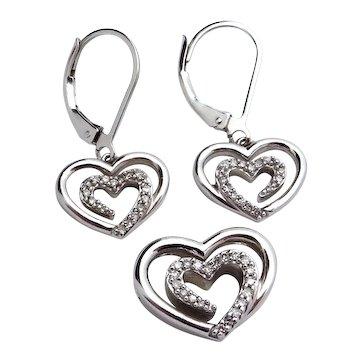 Estate Sterling Silver SLV Open Heart Pendant & Earrings Set with Diamonds