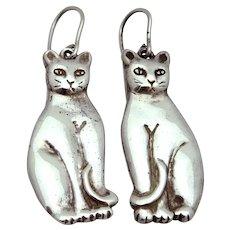 Vintage Sterling Silver Sitting Cat Dangle Hook Earrings 1970s