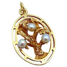 Vintage 14K Gold 3D Jeweled Tree of Life Charm with Cultured Pearls