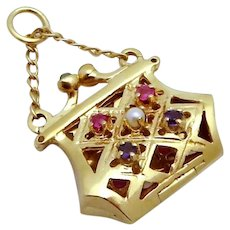 Vintage 14K Gold 3D Jeweled Handbag Purse Charm OPENS!