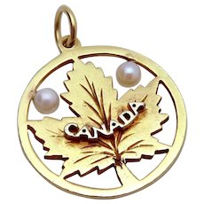 Vintage 10K Gold Canada Maple Leaf Charm Pendant with Cultured Pearls