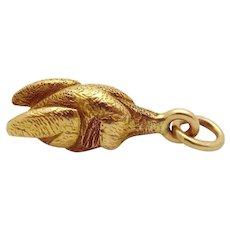 Vintage 14K Gold Solid 3D Roast Chicken/Turkey Charm 1930s