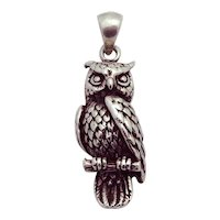 Vintage 925 Sterling Silver Owl Pendant Charm
