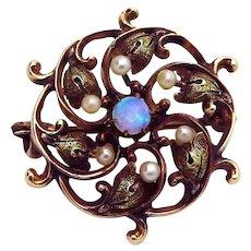 Antique Art Nouveau 10K Gold Opal Brooch Pendant w/Seed Pearls