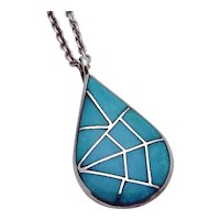Sterling Silver Zuni Navajo Turquoise Teardrop Spiderweb Signed MKL Pendant