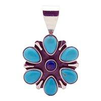 Jay King DTR Sterling Silver Turquoise Lapis Flower Pendant