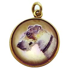 Vintage 14K Gold Wire Hair Fox Terrier Reverse Crystal Bubble Charm