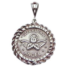 Vintage Sterling Silver Badavici My Guardian Angel on Guard Pendant