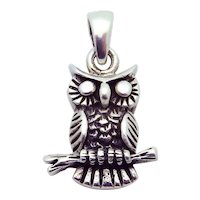 Wonderful Vintage 925 Sterling Silver 3D Owl Pendant Charm