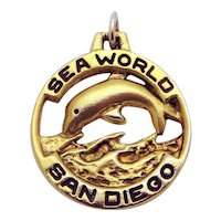 Vintage Sterling Silver Sea World San Diego Dolphin Charm Pendant