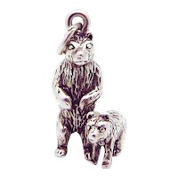 Vintage Sterling Silver 3D Mama Bear with Cub Charm
