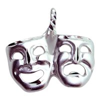 Vintage Sterling Silver Comedy & Tragedy Theater Mask Pendant Charm