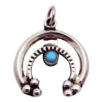 Vintage Sterling Silver & Turquoise Lucky Horseshoe Pendant Charm