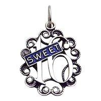 Vintage Beau Sterling Silver Enamel Sweet 16 Birthday Charm Pendant
