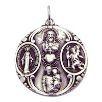 Vintage Sterling Silver Creed 4 Way Religious Catholic Medal Pendant