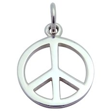 Cool Vintage Sterling Silver Peace Sign Charm Pendant