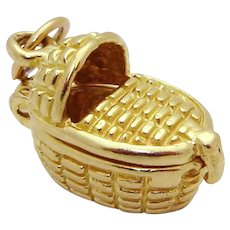 Cool Vintage 10K Gold 3D Baby Bassinet Charm *Opens to a Baby!*