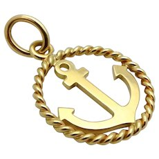 Tiffany & Co. 18K Yellow Gold Nautical Anchor Charm Pendant
