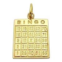 Vintage 10K Yellow Gold Bingo Card Good Luck Charm
