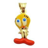 Vintage 14K Gold Enamel Space Jam Tweety Bird Charm Pendant