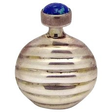 Vintage Sterling Silver Ribbed Perfume Flask Bottle *Jeweled with Azurite*