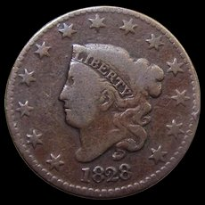 1828 Coronet Large One Cent US Penny