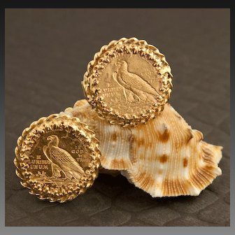 Vintage Men's 90% Pure Gold Indian Head 2 1/2 Dollar Coin Cuff Links, 1914