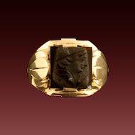 Men's Art Deco 10 Karat Gold Sardonyx Cameo Ring