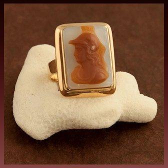 Antique Victorian 14 Karat Gold Agate Cameo Of Minerva