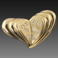Vintage 14 Karat Gold Diamond Heart Pendant