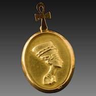 Vintage 22 Karat Gold Pendant Of Queen Nefertiti