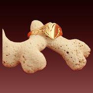 Vintage 9 Karat Gold Heart-Shaped Signet Ring