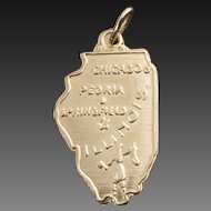 Vintage 14 Karat Gold Charm of Illinois