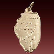 Vintage 14 Karat Gold Charm of Illinois