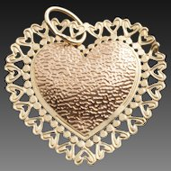 Vintage 14 Karat Gold Heart Pendant