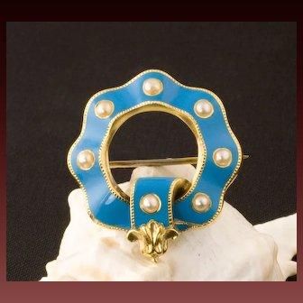 Antique Victorian 18 Karat Gold, Blue Enamel And Natural Pearl Pin