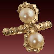 Vintage 14 Karat Gold Cultured Pearl Ring
