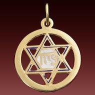 Vintage 10 Karat Gold Enamel Star Of David Charm/Pendant