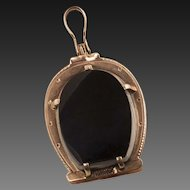 Antique Victorian Carnelian And Onyx Horseshoe Locket
