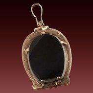 Antique Victorian Carnelian And Onyx Horseshoe Locket