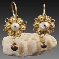 Vintage 10 Karat Gold And Pearl Cannetille Earrings